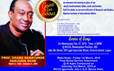 PROF OGABA OCHE GOES HOME