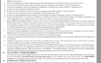 INVITATION TO TENDER FOR THE EXECUTION OF PROJECTS